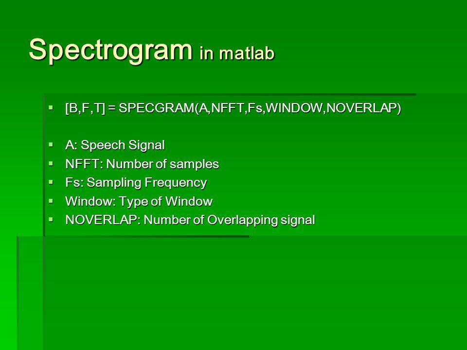 Spectrogram in matlab [B,F,T] = SPECGRAM(A,NFFT,Fs,WINDOW,NOVERLAP)